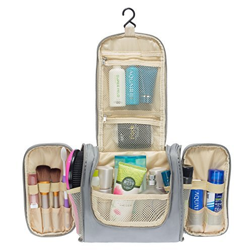 Colleer Multifunctional Travel Toiletry Bag Extra Large Makeup Organiser Waterproof Shower Wash Bag Cosmetic Case Household Grooming Kit Storage Travel Kit Pack with Hook (Grey)