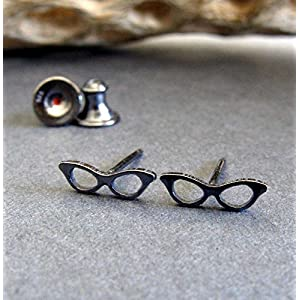 Cat eye glasses retro stud earrings oxidized sterling silver tiny posts. Handmade in the USA.