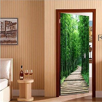 DWWNB 3D Etiqueta De La Puerta Decoración del Hogar Papel Pintado Autoadhesivo Bosque De Bambú Carretera Pequeña 77 * 200Cm: Amazon.es: Hogar