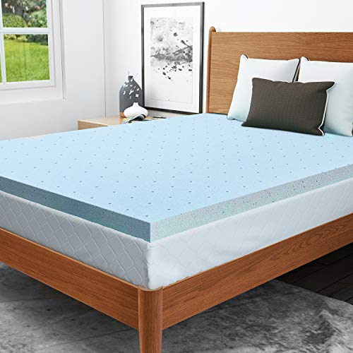 RUUF Mattress Topper, Gel-Infused Memory Foam Mattress Topper with Cooling Technology, 2 inch, Twin
