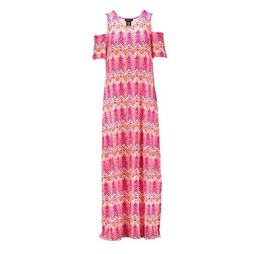 Pink Chevron Magic Cold Dress Maxi Design Women's Shoulder History xqwTTA16