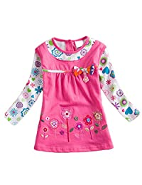 Children Baby Girls Kids Long Sleeve O-Neck Cotton Bowknot Princess Dress Top