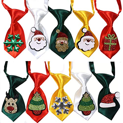 10pcs Christmas Ties for Puppy Small Dogs, Dog Bow Ties Collar adjustable Pet Cat Dog Neckties for Xmas Festival Dog…