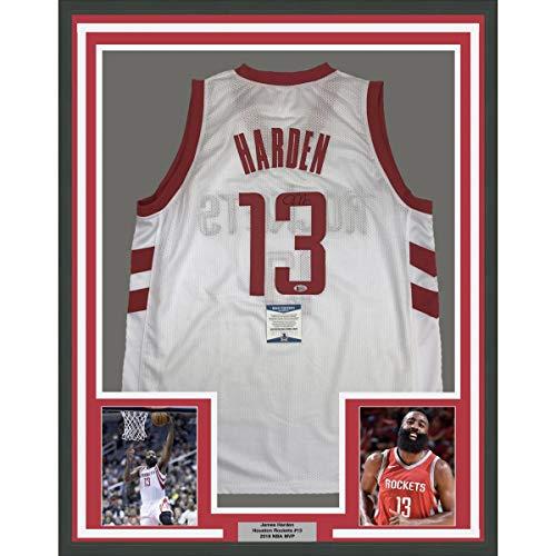 (Framed Autographed/Signed James Harden 33x42 Houston White Basketball Jersey Beckett BAS COA)