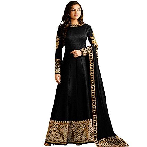 (Ready Made Designer Indian Wear Anarkali Salwar Kameez Party Wear LT1 (Black, XL-44))