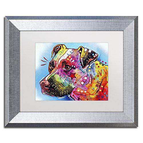 Trademark Fine Art ALI1586-S1114MF Pit Bull 1059 by Dean Russo, White Matte, Silver Frame 11x14