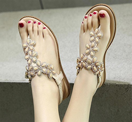 Zapatos Sandalias Las Diamante Gran Planos Flores B De Tamaño adqwngd6r