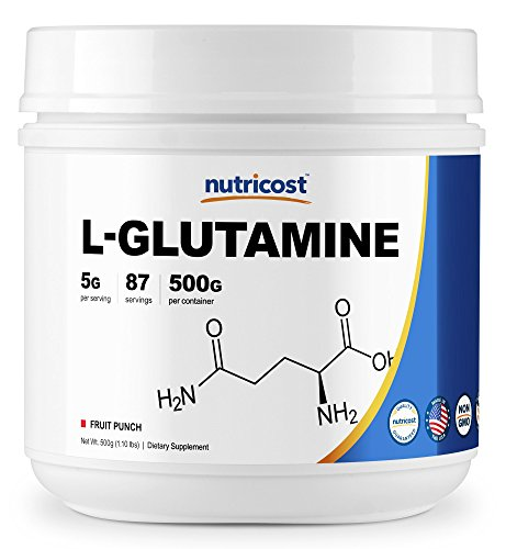 Nutricost L-Glutamine (500 Grams) (Fruit Punch) by Nutricost