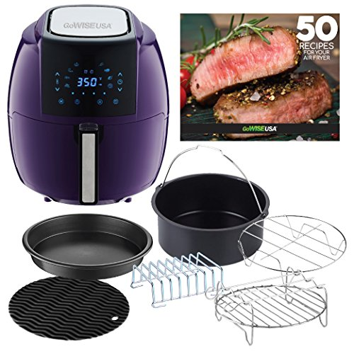 GoWISE USA 5.8-Quarts 8-in-1 Air Fryer XL with 6-PC Accessories + 50 Recipes for your Air Fryer Book (Plum)