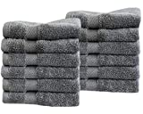 Cotton & Calm Exquisitely Fluffy Washcloths/Face Cloths Towel Set (12 pk, 13'' x 13''), Premium Gray Washcloths - Super Soft, Thick, and Absorbent for Face, Hand, Spa & Gym
