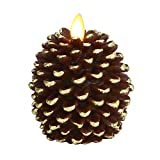 Ksperway Pinecone Unscented Wax Battery Operated Flameless Candle with Moving Wick and Timer 3.4″ x 4.1″ (Brown) Review