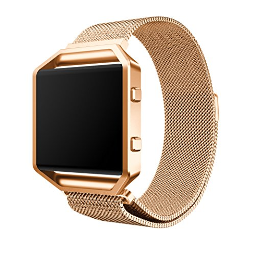 Gold Frame Magnet (YaSpark Fitbit Blaze Band with New Metal Frame Milanese Loop Stainless Steel Bracelet Strap Magnet Lock Band for Fitbit Blaze Smart Fitness Watch, Rose Gold)