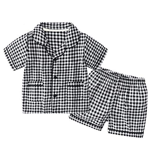 - Toddler Plaid Pajamas Set Short Sleeve Sleepwear Girl PJ's Button Down Pajama Top and Bottom Viscose Black 3T