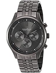 Caravelle New York Mens Quartz Stainless Steel Dress Watch, Color:Grey (Model: 45A133)