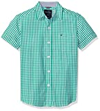 Nautica Boys' Big Short Sleeve Gingham Woven Shirt, Samuel Golf Green, Large (14/16)