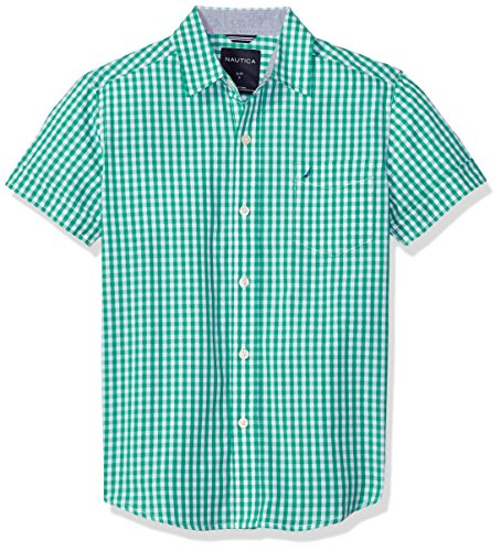 Nautica Boys' Big Short Sleeve Gingham Woven Shirt, Samuel Golf Green, Large (14/16) by Nautica (Image #1)