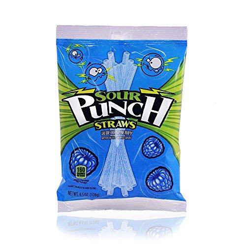 Sour Punch Blue Raspberry Sour Straws 4.5oz Bag (12 Pack)