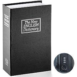 Book Safe with Combination Lock - Jssmst Home Dictionary Diversion Metal Safe Lock Box 2017, SM-BS0402L, Black Large