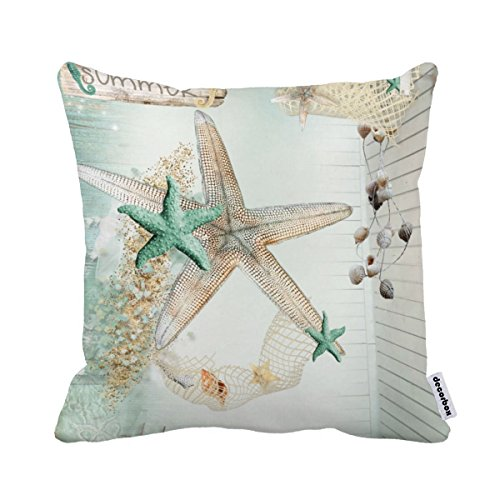 Decorbox Summer Starfish Coral Shell White 18X18 Inch Polyester Cotton Pillow Cases Blend Throw Pillow Case Covers Accent Pillows Standard Size Pillowcase Decorative Cushion Cover Cushions Cover (Starfish Cushion)
