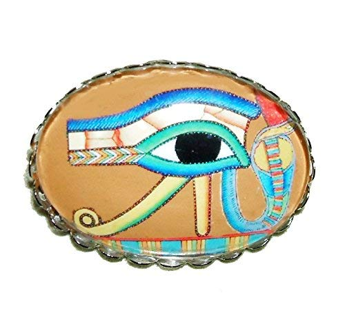 EYE OF HORUS BROOCH PIN Silver Pltd with GLASS Dome EGYPTIAN REVIVAL Protection Power Good Health