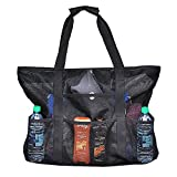 Large Mesh Beach Bag Clear Tote Bag with Zipper for Women