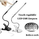 Touch regulable LED USB Flexible del cuidado del ojo luz de lectura ajustable LED lámpara de escritorio Clip para el ordenador portátil iluminación del estudio del dormitorio (Negro)