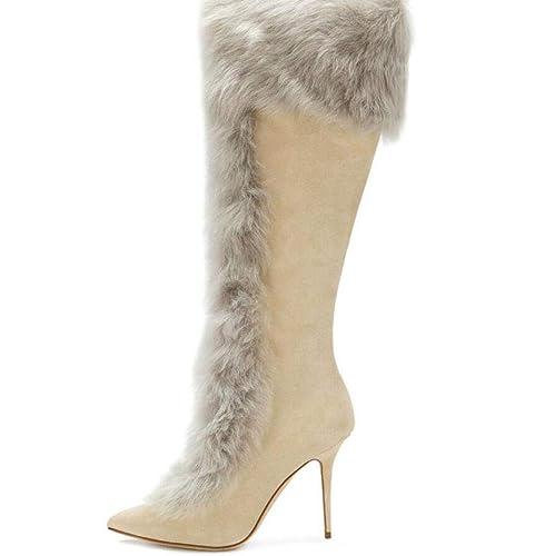 a1c75753b Shiney Botas De Mujer Pelo De Conejo De Tacón Alto Botas A La Rodilla De  Alta