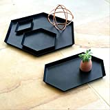 Black and Grey Ottoman Serving Trays Coffee Table Bathroom Decor - Set of 4 Steel Geometric Matte Black Trays for Ottomans, Office Desk, Kitchen, Bedroom, Study | Displayed in Beautiful Gift Box