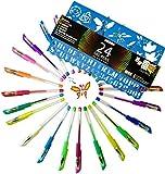 Gel Pens Set - Premium Quality - 24 Colored Pens - Glitter, Pastel, Neon, Black, White & More! - Bonus Stencil & Digital Coloring Art Book