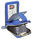 Beurlike Womens Credit Card Holder Case Wallet RFID 4 ID Windows Genuine Leather (Blue)