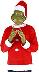 elope Dr. Seuss Grinch Santa Costume Includes Shirt, Mask and Hat