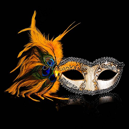 Masquerade mask Yellow Peacock feather Venetian Prom Party Eye Mask (Venetian Eye Mask)