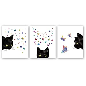 "Kairne Black Cat with Colorful Butterfly Art Print,Set of 3(8""X10"") Watercolor Animals Canvas Poster Painting,Modern Wall Art for Home Decor,Unframed"