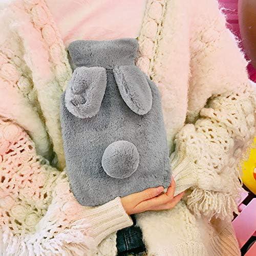 Hosaire Hiver Bouillotte en PVC avec Peluche Couverture Housse D/étachable Mignon Motif de Lapin Bouteille deau Chaude dinjection deau Solide et Garder Chaud 400ml