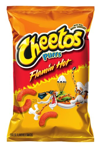 Cheetos Cheese Snacks, Jumbo Puffs, Flaming Hot, 2.25 Ounce (Pack of 22)