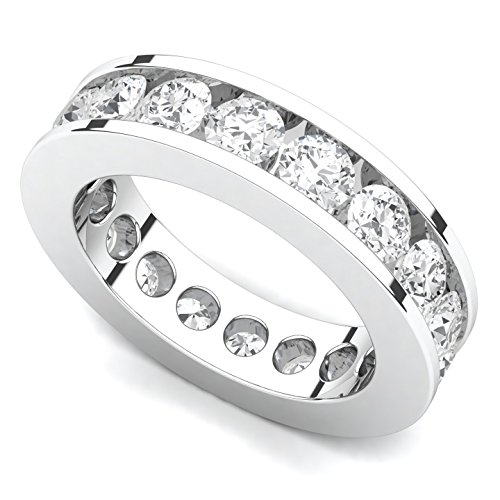 18k White Gold Channel set Diamond Eternity Band Ring (G H/SI, 3 ct.)