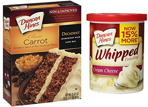 Duncan Hines Carrot Cake Mix Set with Duncan Hines Cream Cheese Frosting - All You Need To Bake and Decorate A Moist Carrot Cake by Duncan Hines