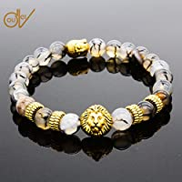 ERAWAN Mens Natural Black Lava Stone Bead Gold Lion Buddha Beaded Charm Bracelet 8mm EW sakcharn