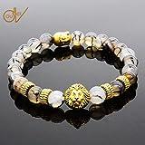 Appliances : ERAWAN Men's Natural Black Lava Stone Bead Gold Lion Buddha Beaded Charm Bracelet 8mm EW sakcharn