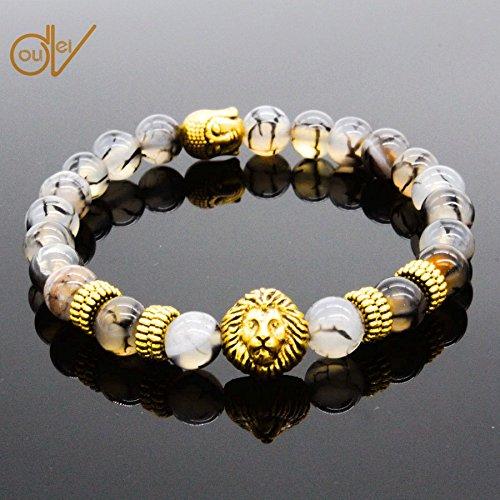 ERAWAN Men's Natural Black Lava Stone Bead Gold Lion Buddha Beaded Charm Bracelet 8mm EW sakcharn