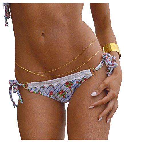 YARUIE Sexy Womens 2 Layers Waist Body Belly Chain Tassels Link Jewelry Decoration-Golden
