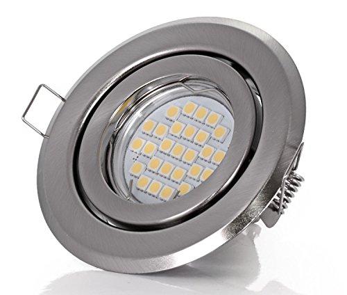 Set Einbaustrahler - schwenkbar - Farbe: Stahl gebürstet - LED 5Watt - 450Lumen - Warmweiss - GU10 230Volt Fassung inklusive