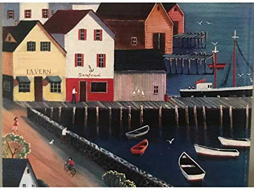 at The Harbor by Steve Klein 500 Piece 11 X 14 inch Jigsaw Puzzle Unique Shaped Pieces.