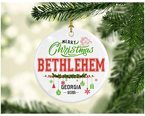 Christmas Decorations Tree Ornament - Personalized Hometown State - Merry Christmas Bethlehem Georgia 2018 - Ceramic 3 Inches White -