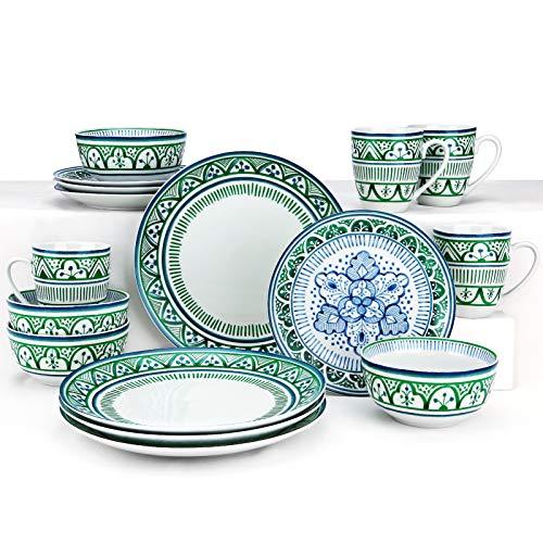 ZYAN 16 Piece Round Dinnerware Sets, Green Moroccan Bazaar Stoneware Dish Set, Dishwasher Safe Plates and Bowls Sets for…