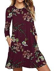 HAOMEILI Women's Long Sleeve Pockets Casual Swing T-Shirt Dresses