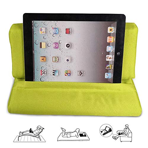 Volwco Wedge Shape Tablet Holder Pillow Stand with 3 Pocket, Microfiber Universal Phone Cushion Computer Holder Sofa Reading Stand On Lap, Bed, Sofa