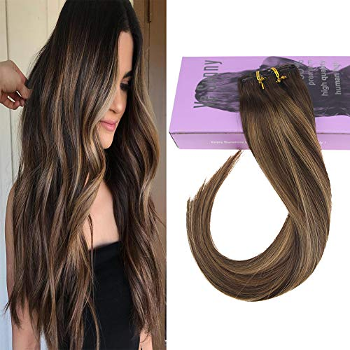 VeSunny Remy Human Hair Clip in Extensions Color #4 Dark Brown Fading to #27 Caramel Blonde Mix Dark Brown Balayage Clip on Extensions Remi Real Human Hair 18quot 7pcs/120g