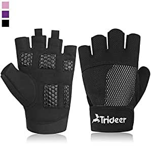 Trideer Women's Ultralight Weight Lifting Gloves, Gym Glove For Powerlifting, Cross Training, Bodybuilding, Breathable Lycra & Anti-slip Gel Pad (Black, S (Fits 5.90-6.69 Inches))