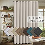 Room Darkening Linen Curtain for Sliding Door (100' W x 84' L) Energy Saving Faux Linen Curtain for Living Room, Primitive Burlap Textured Linen Room Divider Curtain (7ft Tall by 8.5ft Wide, Ivory)